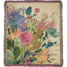 "Extravagant Love ""Be Still"" Floral Tapestry Throw Blanket 