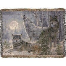 Winter Moonrise Wolves Tapestry Throw Blanket | Manual Woodworkers | ATWMW