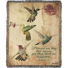Hummingbird Floral with Verse Tapestry Throw Blanket | Manual Woodworkers | ATHBFLV