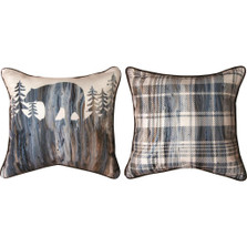 "Bear ""Lodge Fluidity"" Reversible Plaid Throw Pillow 