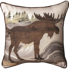 "Moose ""Lodge Fluidity"" Reversible Plaid Throw Pillow 