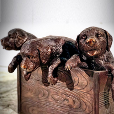Puppies in a Box Bronze Outdoor Statue | Metropolitan Galleries | SRB25146