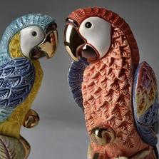Parrot Pair Ceramic Figurine Set | De Rosa | F228B-F228R