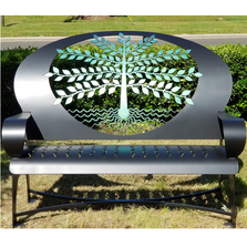 Tree of Life Black Steel Bench | Cricket Forge | B021-black
