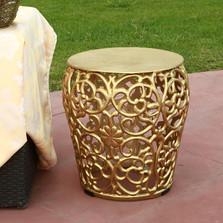 Leaf Lattice Pattern Patio Table Garden Stool | SPI Home | 21004
