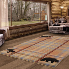 Bear Moose Plaid Cottage Nomad 5x8 Area Rug | United Weavers | 2055-40075-69