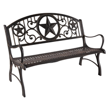 Star Cast Iron Garden Bench | Painted Sky | PSPB-IST-100BR