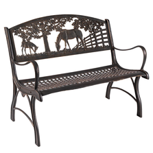 Horse Cast Iron Loveseat Garden Bench | Painted Sky | PSPBLS-HS