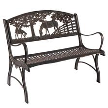 Horse Cast Iron Loveseat Garden Bench | Painted Sky | PSPBLS-HS