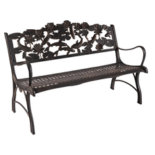 Koi Cast Iron Garden Bench | Painted Sky | PSPB-KOI-100BR