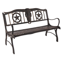 Longhorn Cast Iron Garden Bench | Painted Sky | PSPB-LHN-100BR