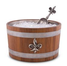 Fleur de Lis Teak Wood Beer Cooler Ice Tub | Vagabond House | E239FL