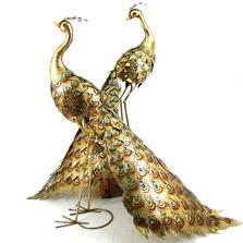 Golden Peacock Iron Garden Statue Set of 2 | Zaer International | ZR140243