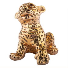 Leopard Cub Sitting 24k Gold Plated Sculpture | A-69-O | D'Argenta