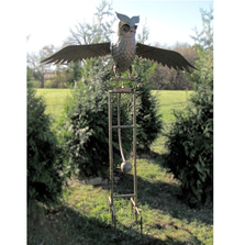 "Flying Owl ""Weston"" Rocking Solar Iron Garden Stake 