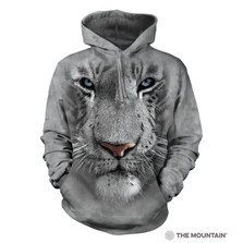 White Tiger Face Unisex Hoodie | The Mountain | 723252 | White Tiger Sweatshirt