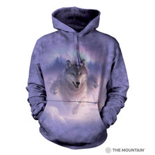 Northern Lights Wolves Unisex Hoodie | The Mountain | 724881 | Wolf Sweatshirt