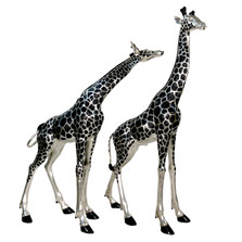 Silver Tone Giraffe Pair Bronze Outdoor Large Statues | Metropolitan Galleries | SRB15043A&B-SP
