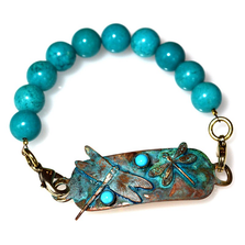 Dragonflies Verdigris Patina Brass Rockband Bracelet | Nature Jewelry | ECGDRP31rb-3TU