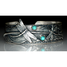 Dragonflies on Feather Antiqued Silver Cuff Bracelet | Nature Jewelry | ECGDRAS131BCTU