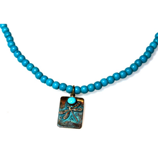 Dragonfly Verdigris Patina Solid Brass Turquoise Necklace | Nature Jewelry | ECGDRP201NTU