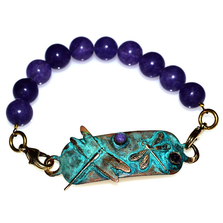 Dragonflies Verdigris Patina Brass Amethyst Bracelet | Nature Jewelry | ECGDRP31RB-3AM