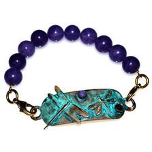 Dragonflies Verdigris Patina Brass Amethyst Bracelet | Nature Jewelry | ECGDRP31RB-3AM