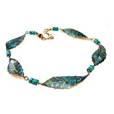 Magnolia Leaves Verdigris Patina Turquoise Necklace | Nature Jewelry | ECGLP33NTU