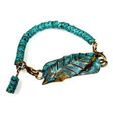 Magnolia Leaf Verdigris Patina Brass Rockband Bracelet | Nature Jewelry | ECGLP39RB-11