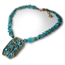 Seahorse Verdigris Patina Brass Necklace   Nature Jewelry   ECGOCP141NTU