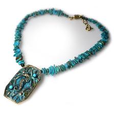 Seahorse Verdigris Patina Brass Necklace | Nature Jewelry | ECGOCP141NTU