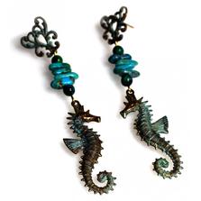 Seahorse Verdigris Patina Brass Turquoise Dangle Earrings | Nature Jewelry | ECGOCP141ETU