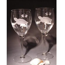 Sea Turtle Chablis Crystal 13 oz Wine Glass Set of 2 | Evergreen Crystal | ECSS-08627