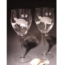 Sea Turtle Chablis Crystal 13 oz Wine Glass Set of 2 | Evergreen Crystal | ECSS-08627