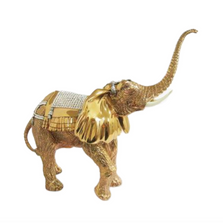 Indian Elephant Trunk Up 24k Gold Plated Sculpture | A-90 | D'Argenta