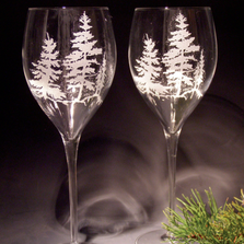 Pinecone Crystal 11 oz Wine Glass Set of 2 | Evergreen Crystal | ECTR-61614a