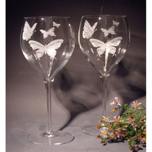 Butterfly Crystal 11 oz Wine Glass Set of 2 | Evergreen Crystal | ECTR-88614a