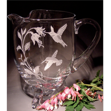 Hummingbird Fushcia Large Crystal Footed Pitcher | Evergreen Crystal | ECTR-15638