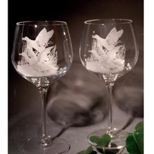 Mallard Scene Crystal 18 oz. Goblet Wine Glass Set of 2 | Evergreen Crystal | ECNA-42613