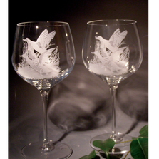 Mallard Scene Crystal 18 oz. Goblet Wine Glass Set of 2 | Evergreen Crystal | ECNA-42613