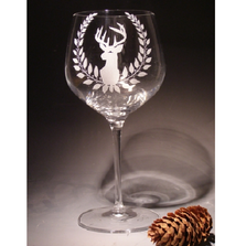 Deer with Berries Crystal 18 oz Wine Glass Set of 2 | Evergreen Crystal | ECNA-111613