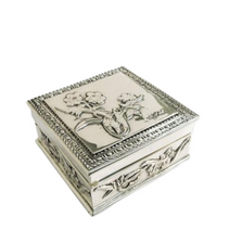 Floral Sterling Silver Plated Jewelry Box   D'Argenta   U-310