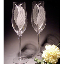 Wings Etched Crystal 8oz Flute Set of 2 | Evergreen Crystal | ECTR-48616