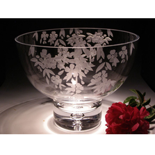 Cherry Blossom Crystal Pedestal Bowl | Evergreen Crystal | ECTR-38110