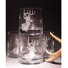 Deer Head Etched Crystal 11 oz DOF Glass Set of 4 | Evergreen Crystal | ECNA-62645a
