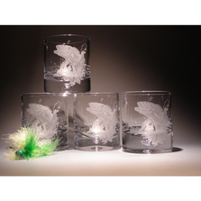 Bass with Fly Etched Crystal 11 oz DOF Glass Set of 4 | Evergreen Crystal | ECNA-51620