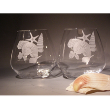 Sea Shell Group Stemless Wine Glass Set of Four | 20 oz | Evergreen Crystal | ECSS-43623a