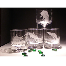 Fish Etched Crystal 11 oz DOF Glass Set of 4 | Evergreen Crystal | ECSS-57620