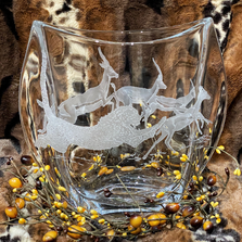 Cheetah with Gazelles Crystal Pinched Vase | Evergreen Crystal | ECLE-43031