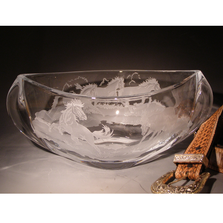 "Stallions Crystal 12"" Pinched Bowl 